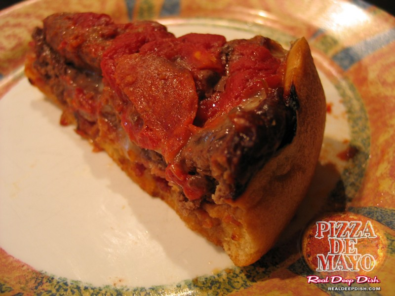 Meatza - closeup (reheated). This slice was eaten minutes after shooting uploading this photo.