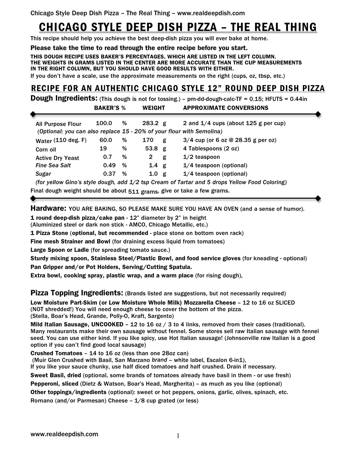 It's a Real Deep Dish Pizza Recipe! Click on the image to download the PDF